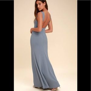 Lulus Hollywood Boulevard blue grey low backless